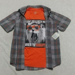 Boys button up shirt & graphic tee combo, w/ lion